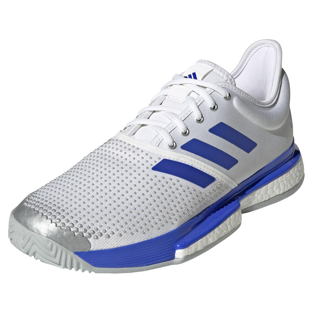 Men's Solecourt Primeblue Tennis Shoes Footwear White And Sonic Ink