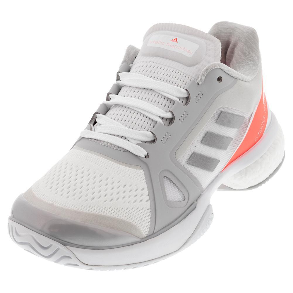 Women's Stella Court Tennis Shoes White And Silver Metallic