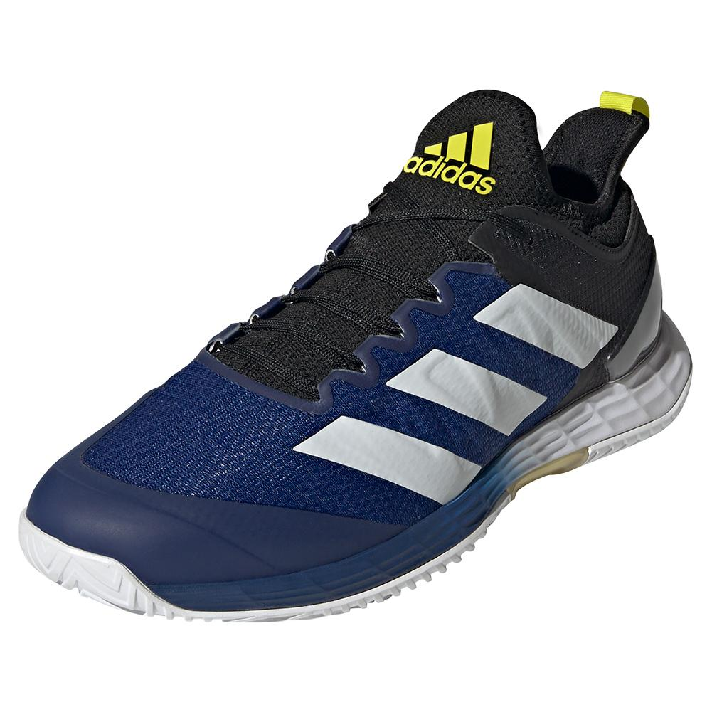Men's Adizero Ubersonic 4 Tennis Shoes Core Black And Acid Yellow