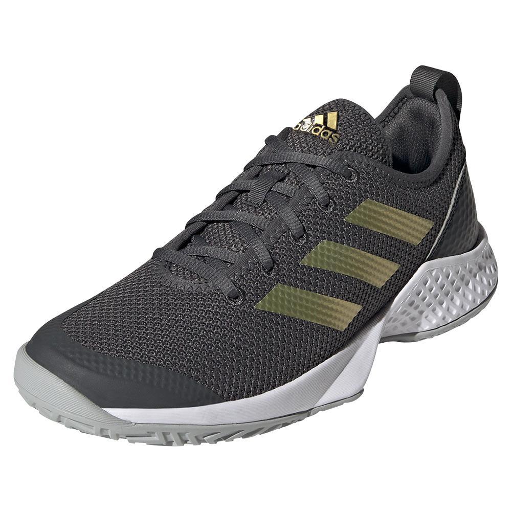 Women's Court Control Tennis Shoes Grey Six And Gold Metallic