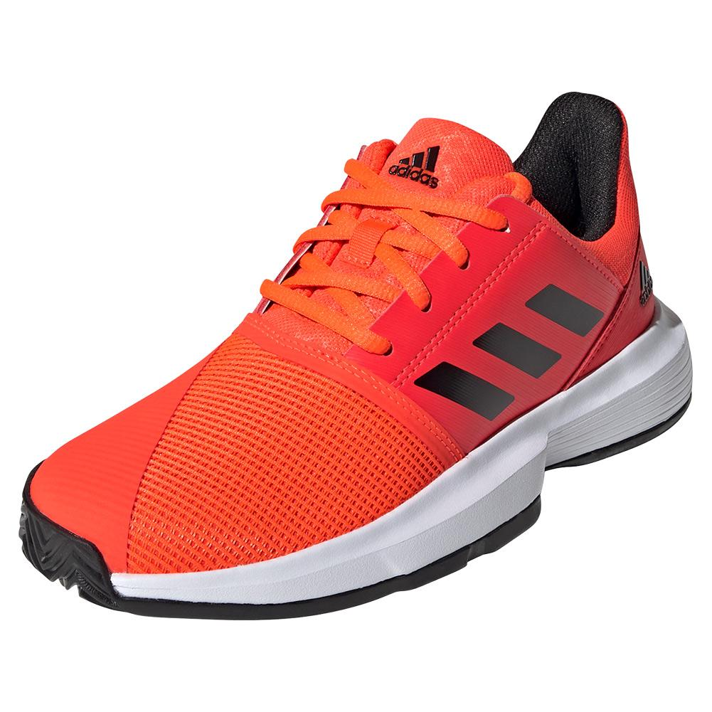 Juniors ` Courtjam Xj Tennis Shoes Solar Red And Core Black
