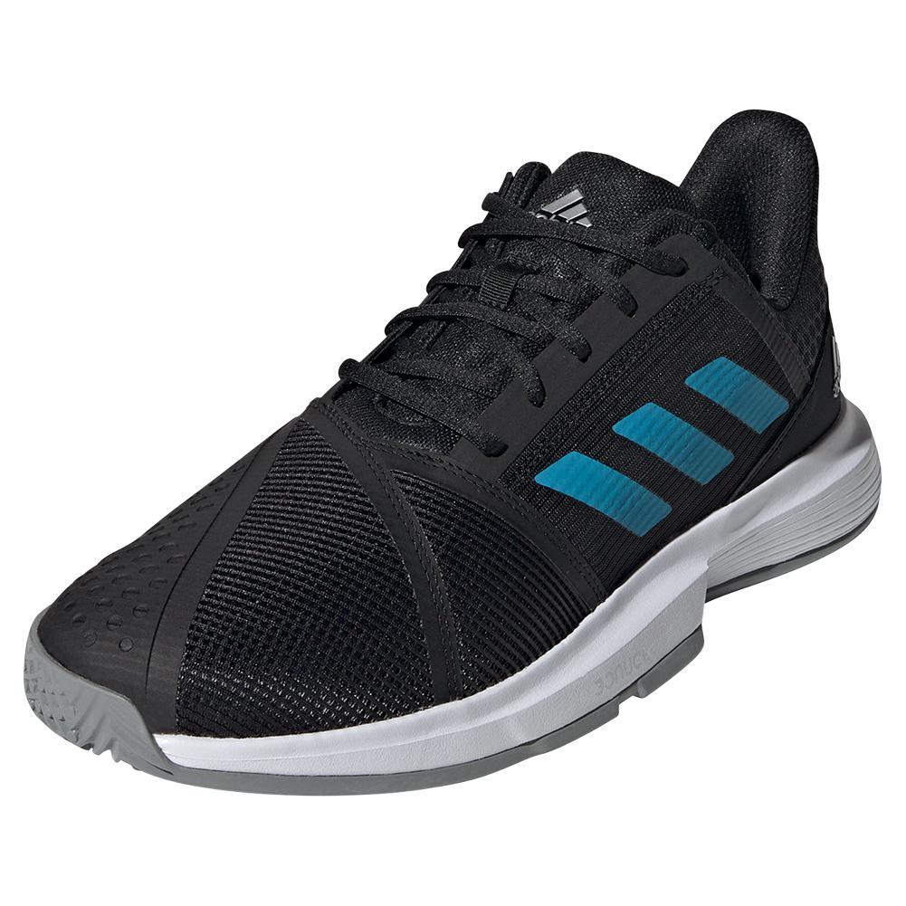 Men's Courtjam Bounce Tennis Shoes Core Black And Sonic Aqua