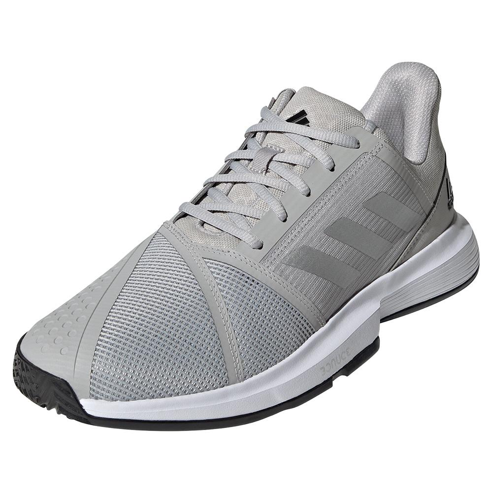 Men's Courtjam Bounce Tennis Shoes Grey Two And Silver Metallic