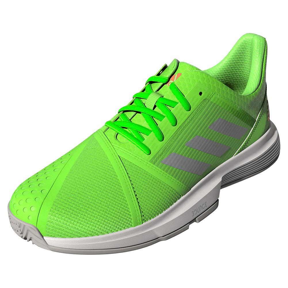 Women's Courtjam Bounce Tennis Shoes Signal Green And Silver Metallic