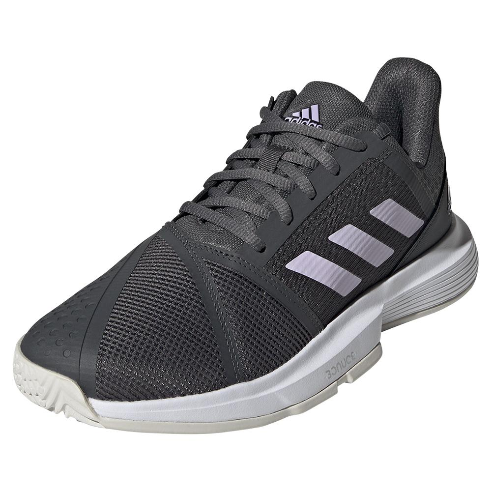 Women's Courtjam Bounce Tennis Shoes Grey Six And Purple Tint