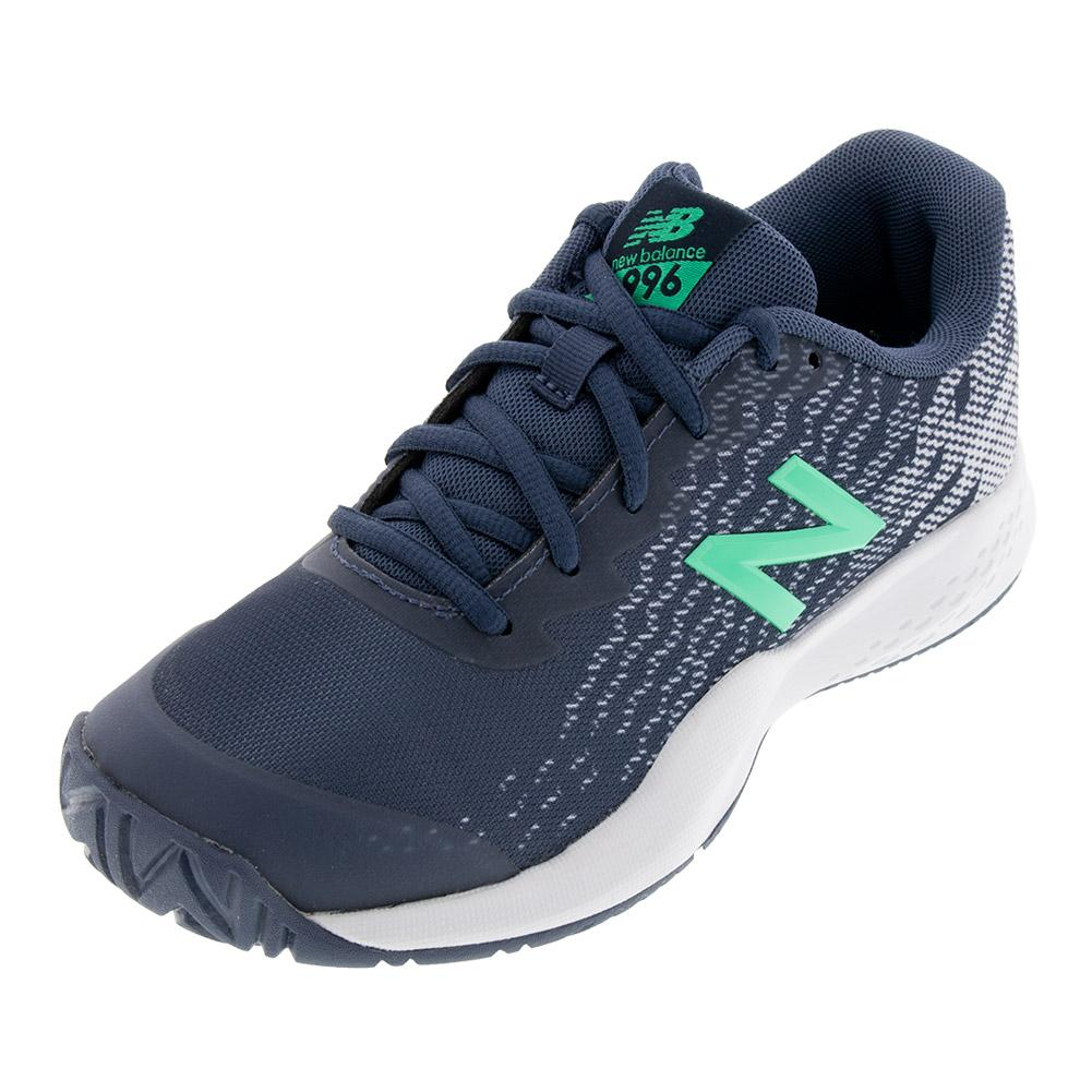 Juniors ` 996v3 Tennis Shoes Vintige Indigo And Neon Emerald