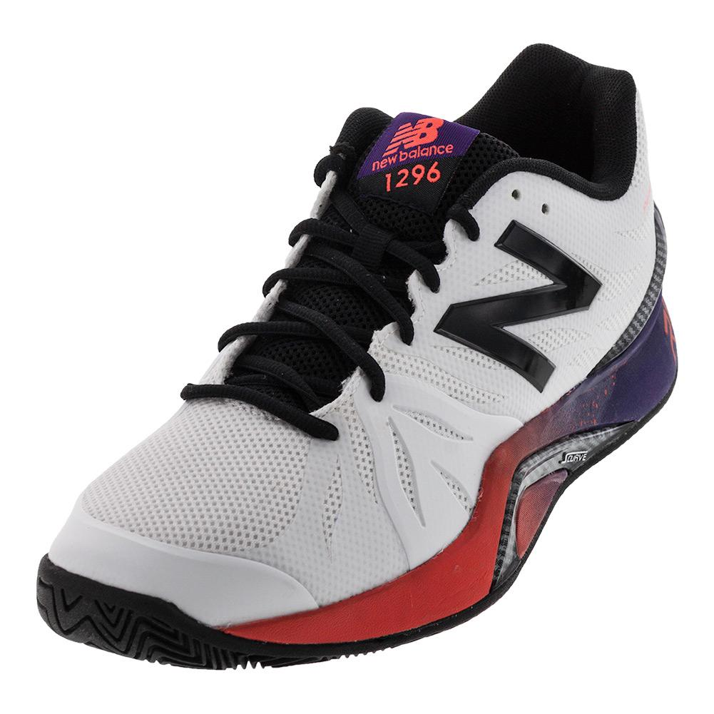 Men's 1296v2 D Width Tennis Shoes White And Black Plum
