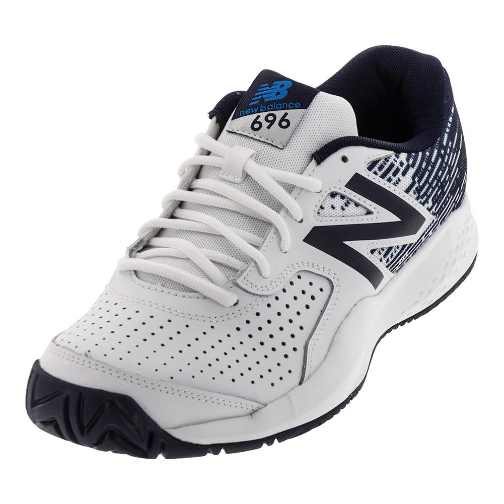 Men's 696v3 D Width Tennis Shoes White And Blue