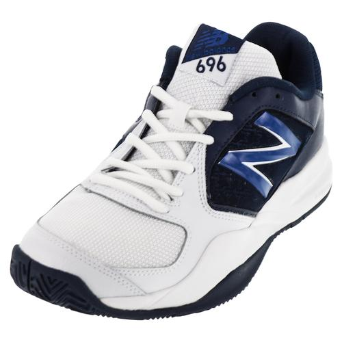 Men's 696v2 D Width Tennis Shoes White And Navy