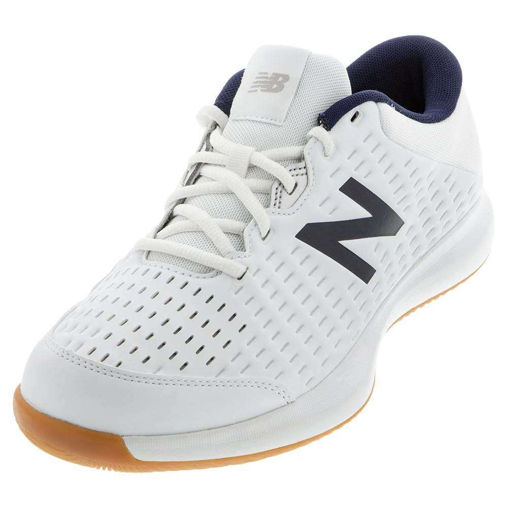 Men's 696v4 D Width Tennis Shoes White And Navy
