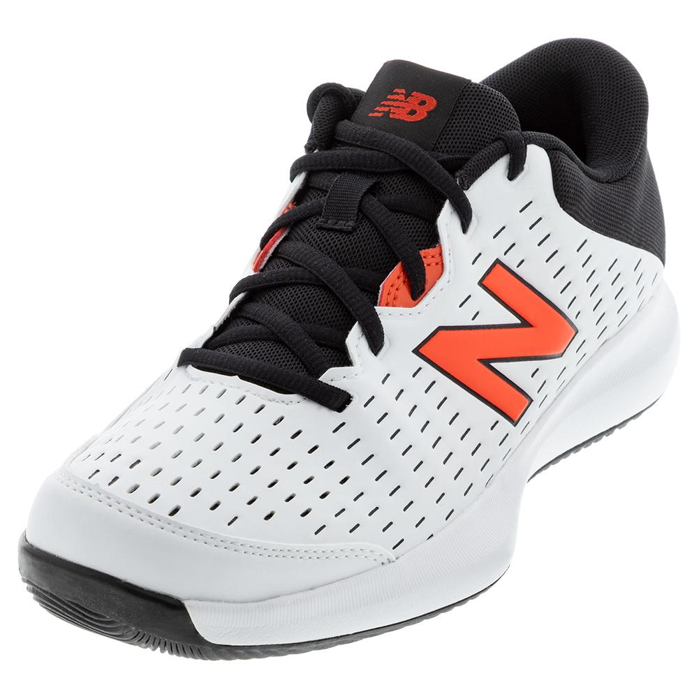 Men's 696v4 D Width Tennis Shoes White And Ghost Pepper