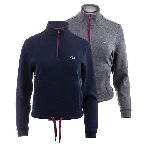 Women's Long Sleeve Mockneck Half Zip Kangaroo Pocket Tennis Sweatshirt