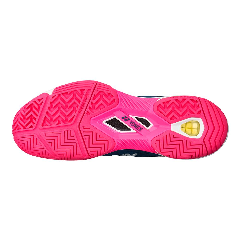 Yonex Women`s Power Cushion Fusionrev 3 Tennis Shoes in Navy and Pink ec6a027af5c
