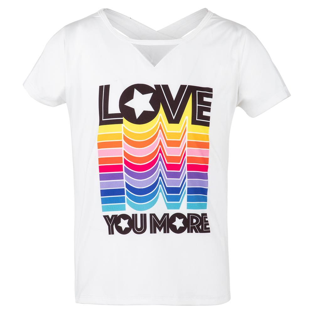 Girls ` Love You More Tennis Tee White