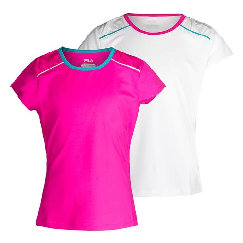 Girls ` Paint The Lines Short Sleeve Tennis Top