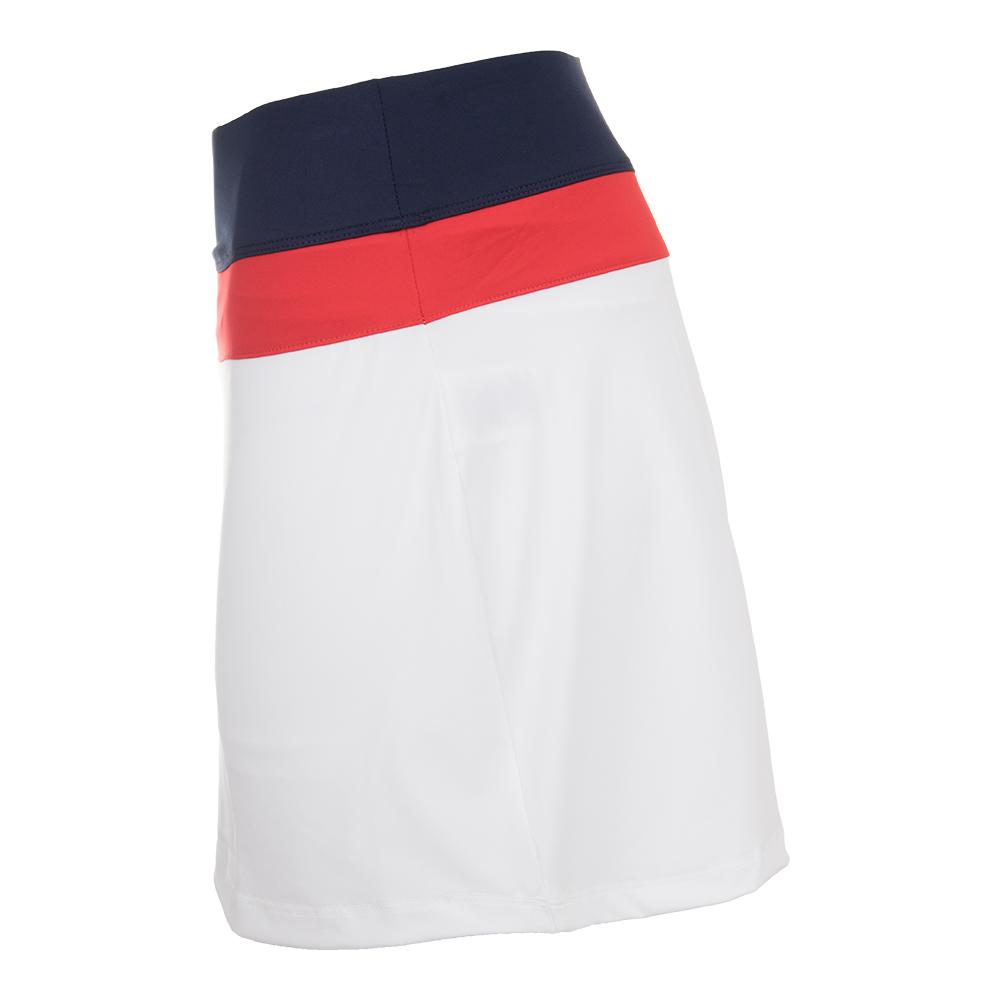 45d89a5b7bf5 Fila Women's Heritage Colorblocked 14.5 Inch Tennis Skort White and Navy