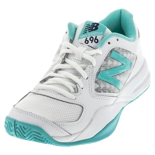 Women's 696v2 B Width Tennis Shoes Teal And White