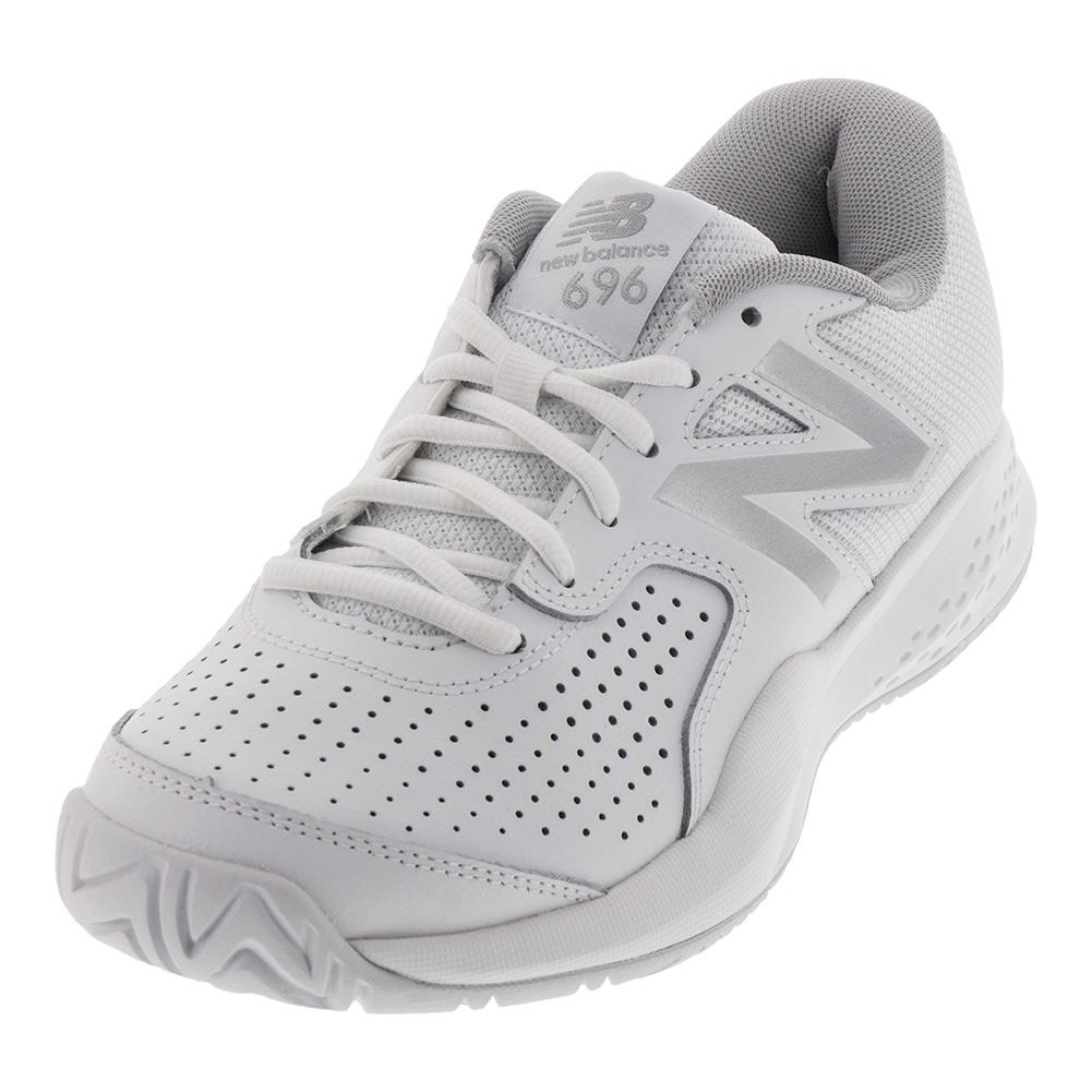 Women's 696v3 D Width Tennis Shoes White And Silver