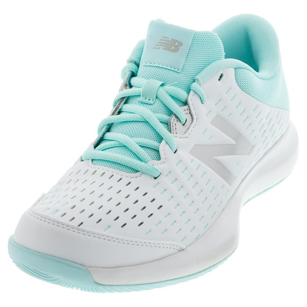Women's 696v4 2e Width Tennis Shoes White And Bali Blue
