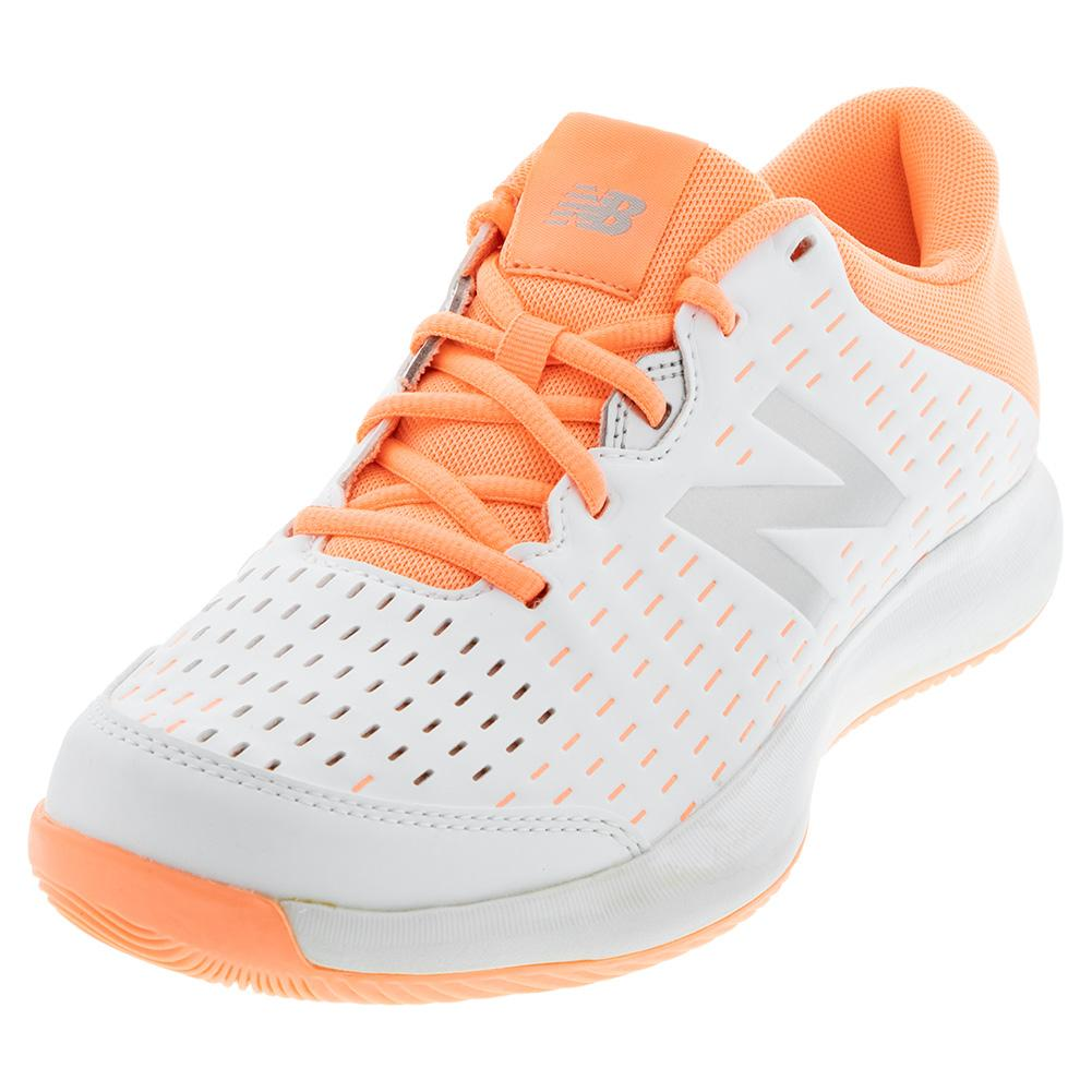 Women's 696v4 2e Width Tennis Shoes White And Ginger Pink