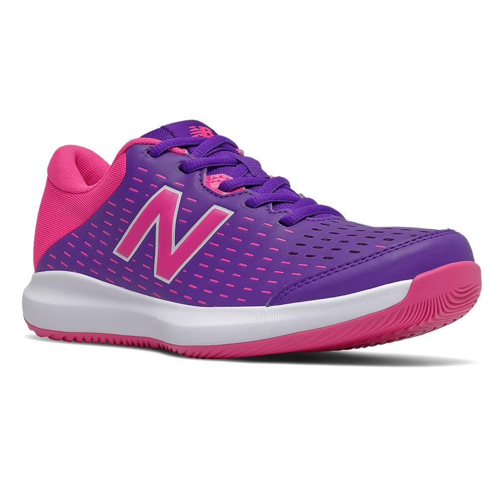 Women's 696v4 B Width Tennis Shoes Deep Violet And Pink Glo