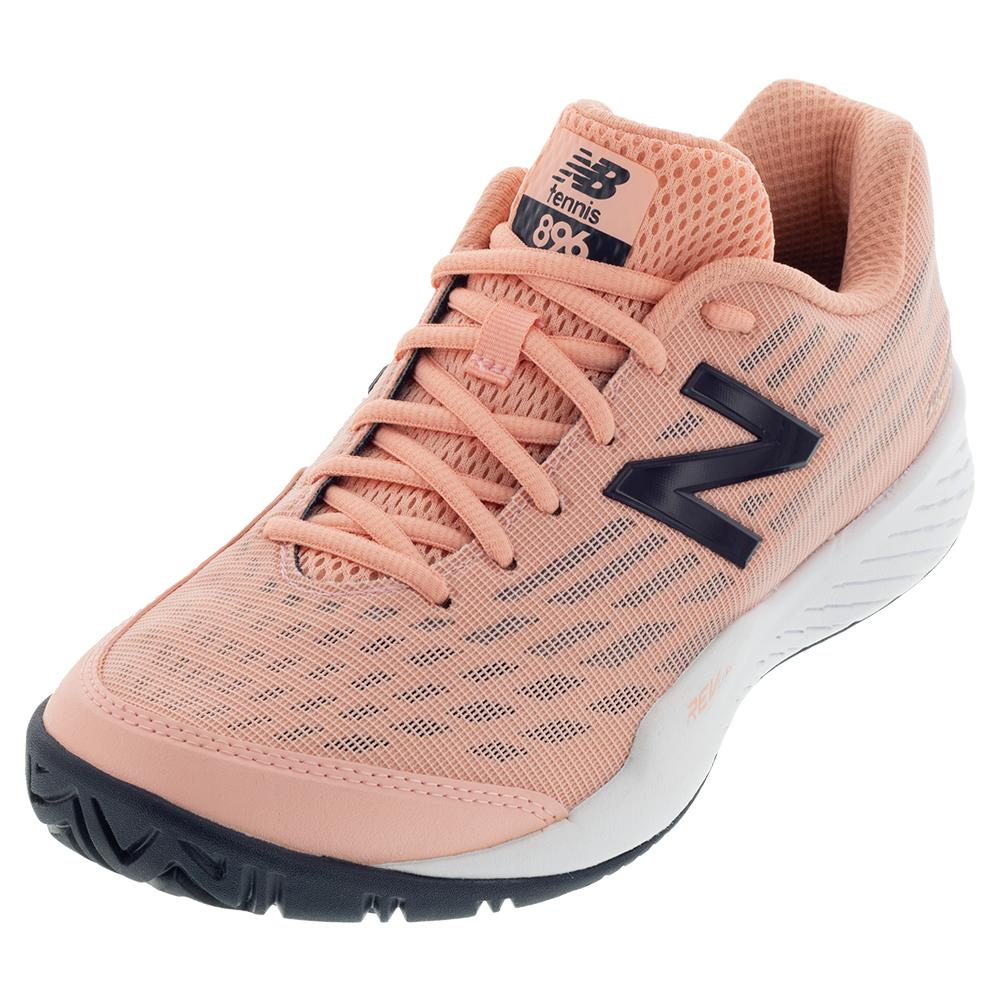 Women's 896v2 B Width Tennis Shoes White Peach And Pigment