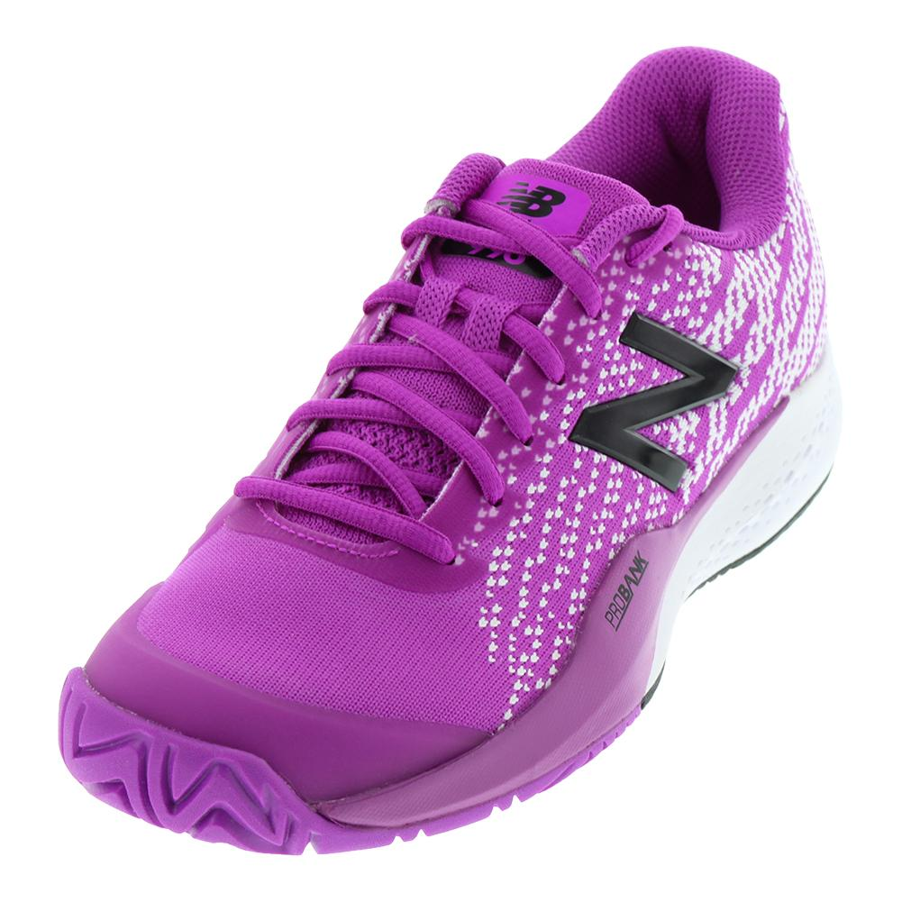 Women's 996v3 B Width Tennis Shoes Voltage Violet And White