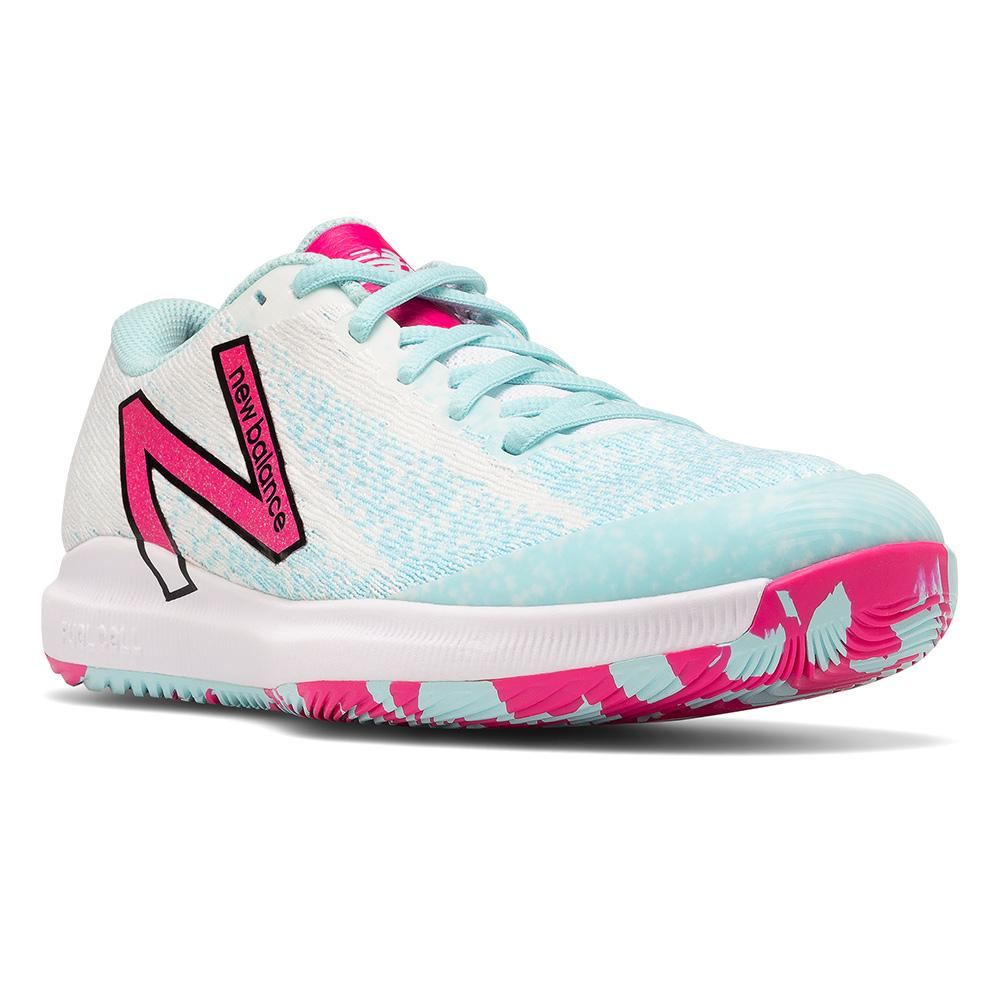 Women's Fuelcell 996v4.5 B Width Tennis Shoes White And Pink Glo