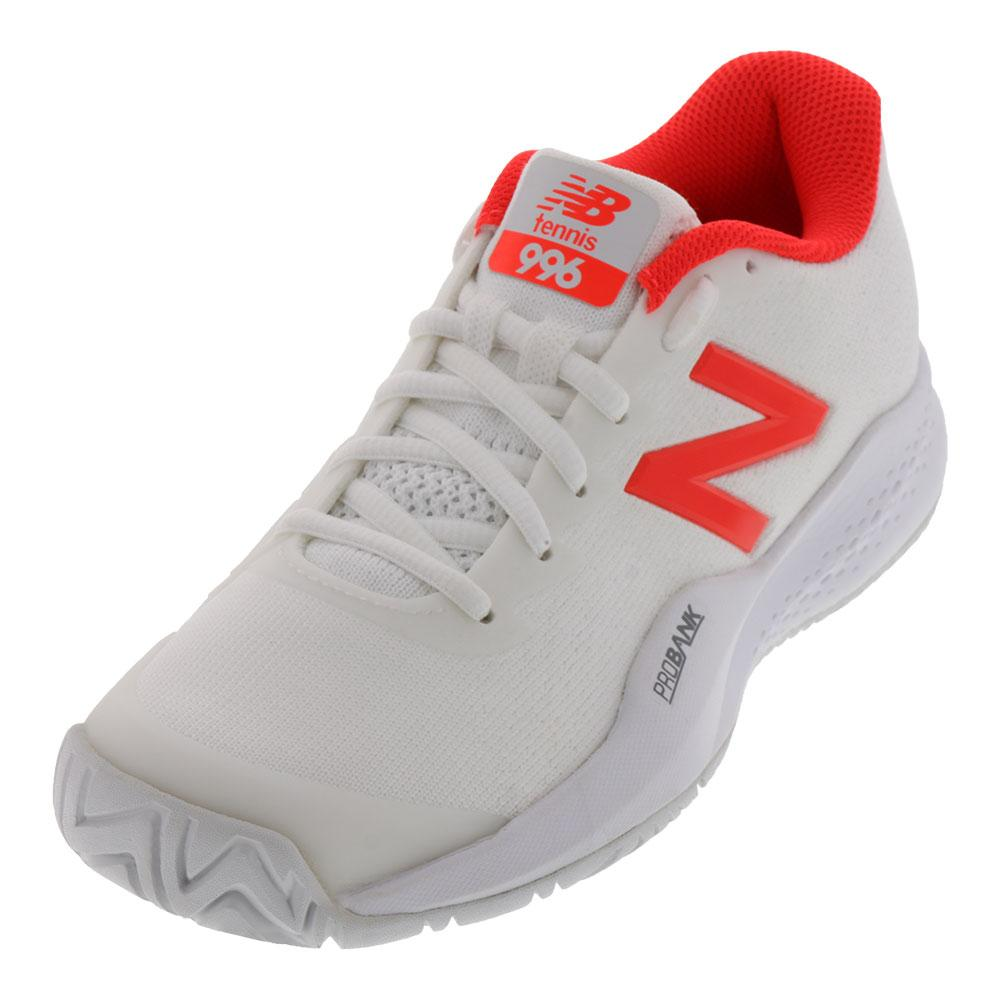 Women's 996v3 B Width Tennis Shoes White And Flame