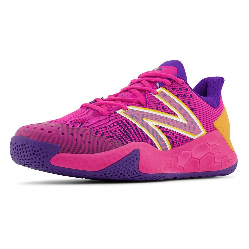 Women's Fresh Foam Lav V2 B Width Tennis Shoes Pink Glo And Deep Violet