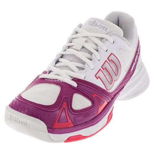 Women's Rush Evo Tennis Shoes White And Fiesta Pink