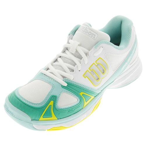 Women's Rush Evo Tennis Shoes White And Aruba Blue