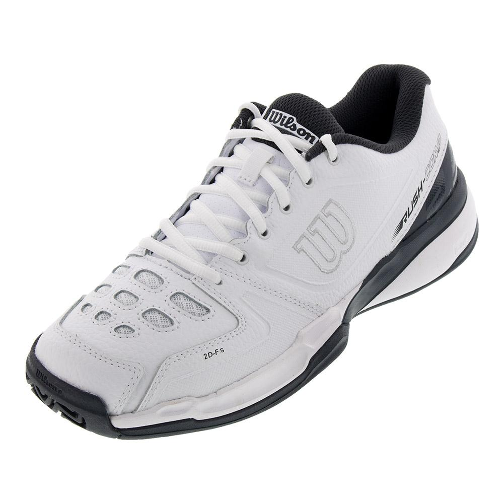 Unisex Rush Comp Leather Tennis Shoes White And Ebony