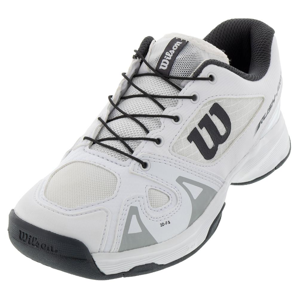 Juniors ` Rush Pro Quick Lace Tennis Shoes White And Ebony