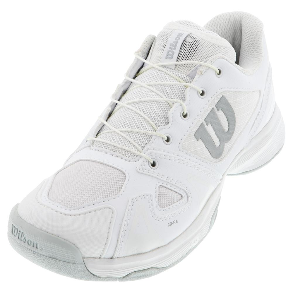 Juniors ` Rush Pro Quick Lace Tennis Shoes White And Pearl Blue