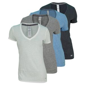 UNDER ARMOUR WOMENS UA CHARGED COTTON SS V NECK