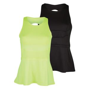 LUCKY IN LOVE WOMENS PEPLUM TENNIS TANK