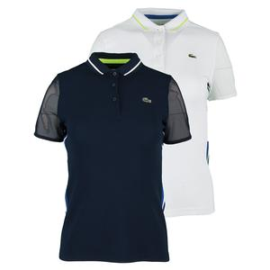 LACOSTE WOMENS TECH MESH SLEEVE TENNIS POLO