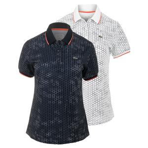 LACOSTE WOMENS GEO PRINTED TECHNICAL TNS POLO