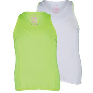 LUCKY IN LOVE GIRLS V-NECK RACERBACK TENNIS TANK