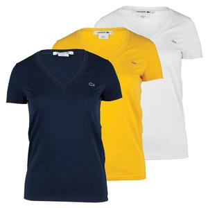 LACOSTE WOMENS COTTON V-NECK TENNIS TEE