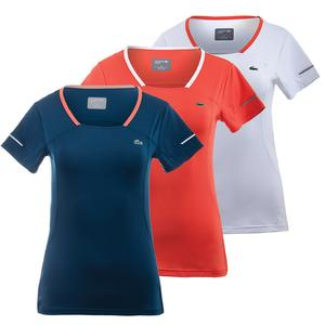 LACOSTE WOMENS MESH PANEL TECHNICAL TENNIS TEE